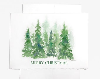 Watercolor Christmas Tree - Set of 10 Christmas Cards