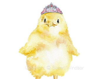 Chick with Tiara Watercolor Painting Large Poster Vertical Format - Watercolor Wall Art Decor