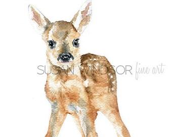 Deer Fawn Watercolor Painting Giclee Print 8x10 (8.5x11) Nursery Art Wall Decor