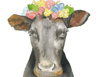 Black and Brown Cow Floral Crown 11 x 14 Watercolor Painting Giclee Print Reproduction - Girls Room Nursery Wall Art