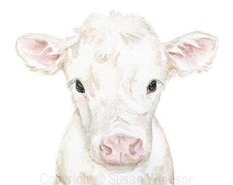 White Cow Calf Watercolor Painting - Large Print - 16 x 20 - Farm Animal Art Nursery Decor