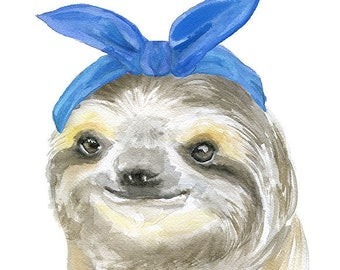 Sloth with a Blue Scarf Watercolor Painting Giclee Print 11 x 14 Fine Art Reproduction