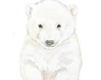 Polar Bear Cub Watercolor Painting Giclee Reproduction 11x14 - Nursery Art Arctic Animals