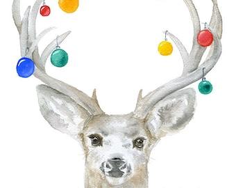 Christmas Deer Watercolor Painting Large Poster Vertical Format - Watercolor Christmas Art - Christmas Ornaments Wall Art Decor