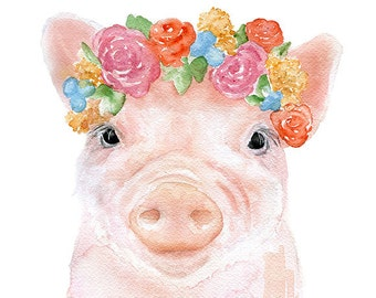 Pink Piglet Floral Watercolor Painting - 11 x 14 - Giclee Print Reproduction - Girls Room Nursery Wall Art