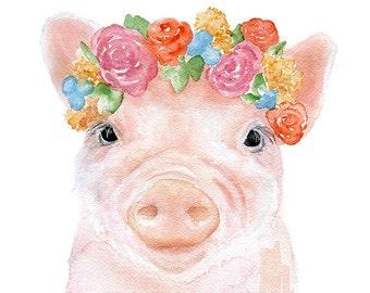 Pig Floral Watercolor Painting - 5 x 7 - Giclee Print - Fine Art Piglet Nursery Art - Farm Animal Farmhouse Decor