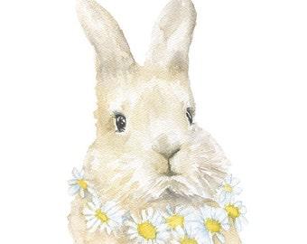 Watercolor Bunny Floral Painting Giclee Print - 5 x 7 - Nursery Art - Rabbit - Girls Room