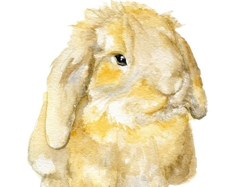 Brown Lop Rabbit - Watercolor Painting 11x14 - Giclee Print Reproduction Bunny Nursery Art