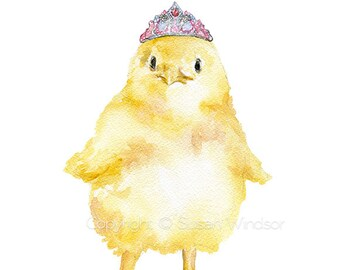 Chick With Tiara Watercolor Painting Fine Art Print Giclee Print 8 x 10 / 8.5 x 11 - Chicken Farm Art Princess Painting