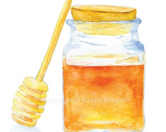 Honey Jar Watercolor Greeting Card