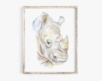 "Rhino Watercolor Painting 11/"" x 14/"" Rhinoceros Art Print by Artist DJ Rogers"