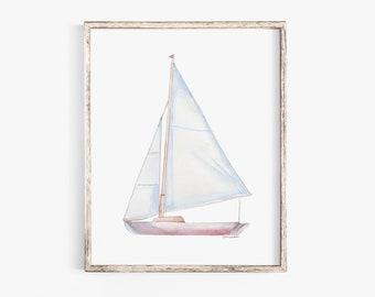 Sailboat 2 Watercolor Painting Giclee Print Nautical Nursery Art