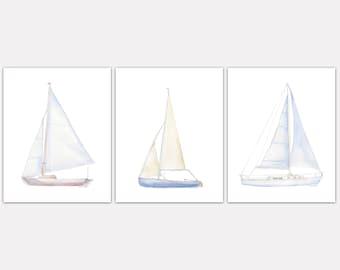 Sailboats Watercolor Art Print Set of 3 Nautical Theme Wall Art