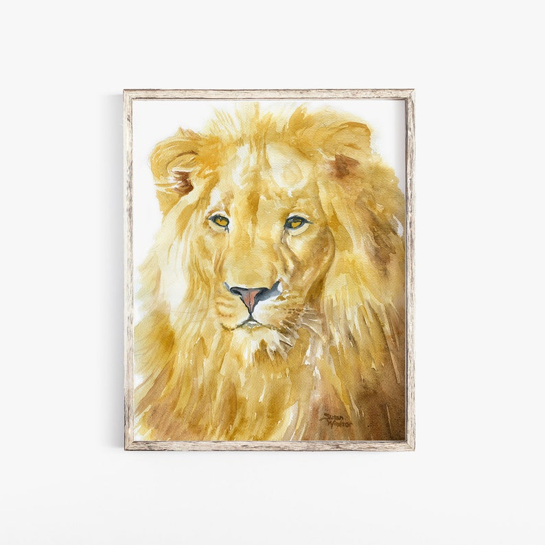 Lion Akwarela Malarstwo 4 X 6 Giclee Drukuj Fine Art Etsy