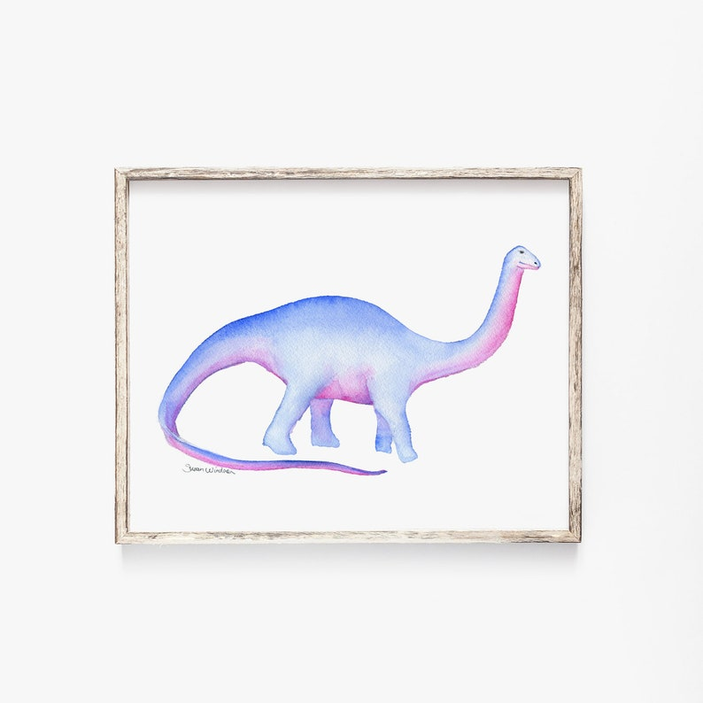 14 x 11 Apatosaurus Watercolor Painting Giclee Reproduction