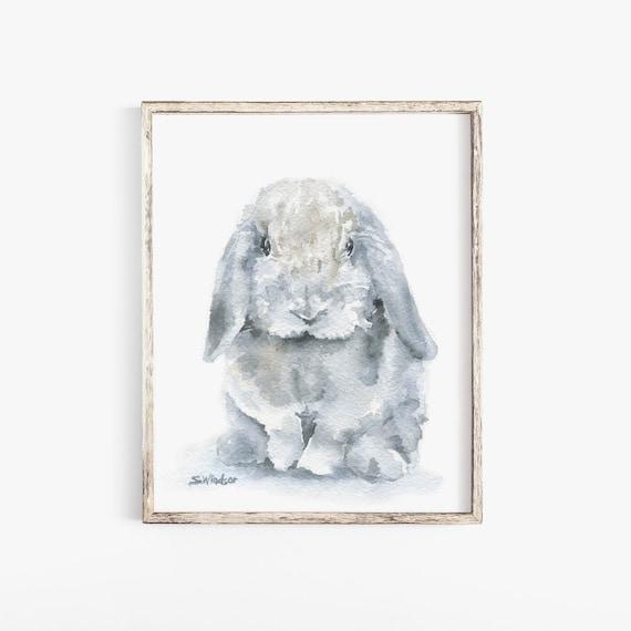 Mini Hangoor Konijn Aquarel Schilderij 4 X 6 Giclee Fine Etsy