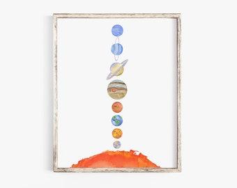 Solar System Watercolor Art Print - Large Poster Print