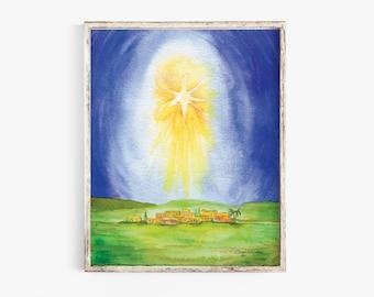 Star Over Bethlehem Watercolor Poster Print
