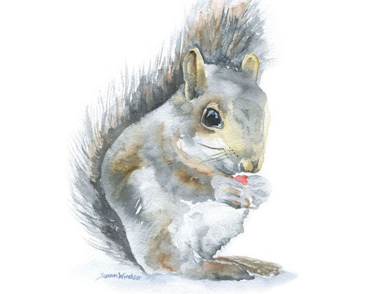 FREE Shipping Autumn Fall Squirrel Original 10 in x 8 in Watercolor Painting