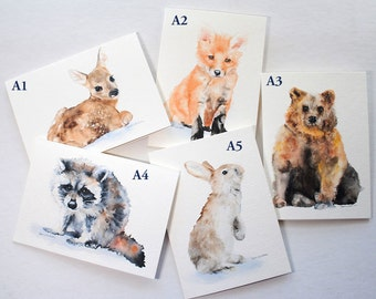 Watercolor Woodland Animal Cards - Mix and Match - Set of 5
