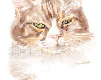 Calico Cat Watercolor Painting 4 x 6 - Giclee Print Reproduction - Cat Lover