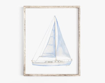 Sailboat 3 Watercolor Painting Giclee Print Nautical Nursery Art