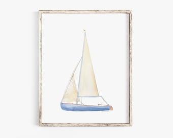 Sailboat 1 Watercolor Painting Giclee Print Nautical Nursery Art
