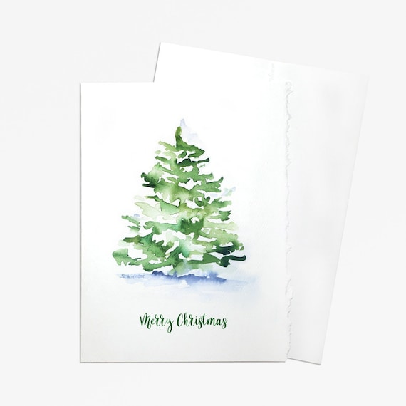 Watercolor Christmas Cards.Watercolor Christmas Tree Set Of 10 Christmas Cards