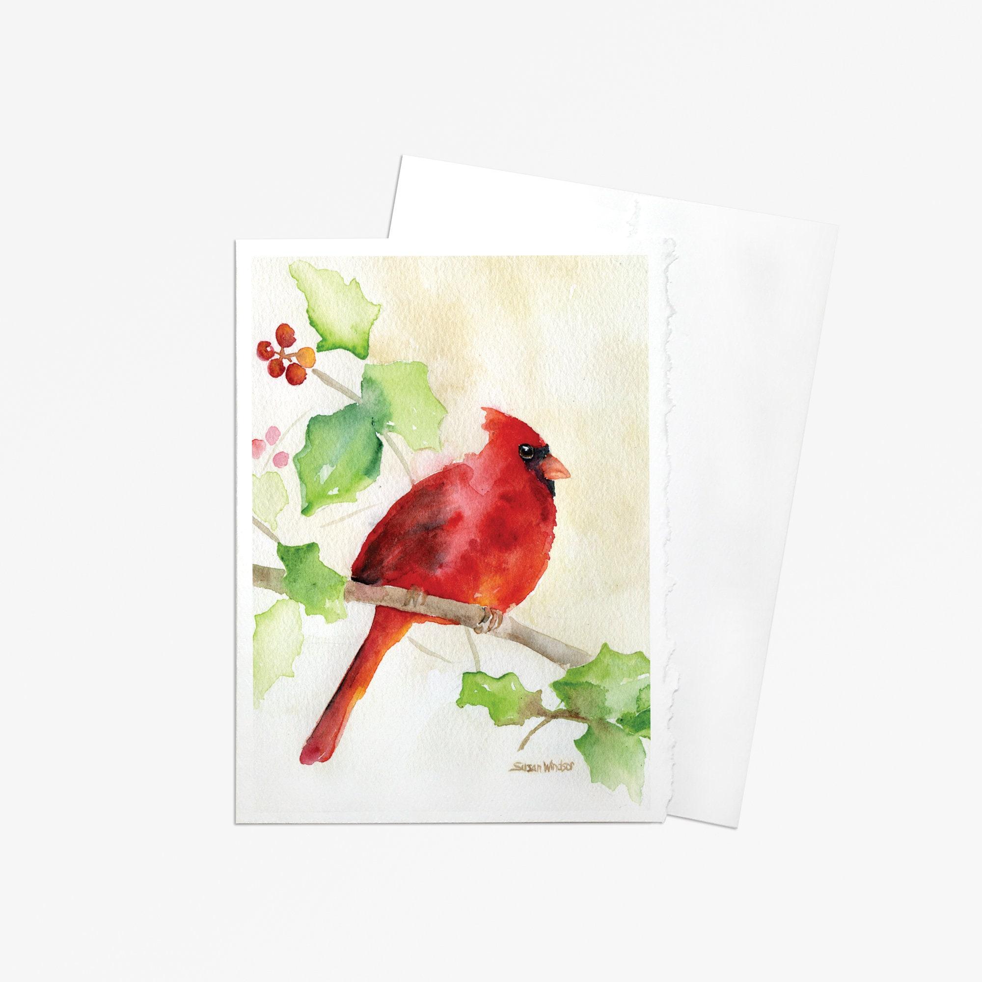 Cardinal Watercolor Greeting Card 5 X 7 Etsy