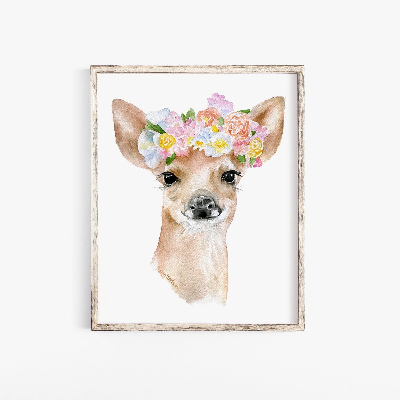 Reh Rehkitz Blumen Aquarell 8 x 10 Fine Art Giclée   Etsy