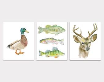 Outdoors Animal Watercolor Paintings Art Print Set - Hunting Fishing