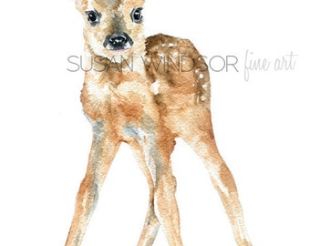 Deer Fawn Watercolor Painting - 4 x 6 - Giclee Print Reproduction - Nursery Art