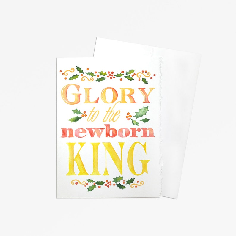 Christian Christmas Cards.Christian Christmas Card Set Of 10 Watercolor Painting Glory To The Newborn King