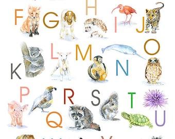 Animal Alphabet Large Poster Vertical Format - Watercolor Animals - Nursery Art ABCs - Kids Room - Children's Art