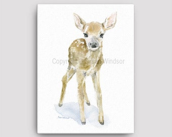 Deer Fawn Watercolor Painting 12 x 16 Gallery Wrapped Canvas Print - Woodland Animal - Nursery Art
