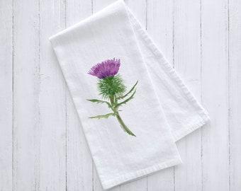 Thistle Watercolor Flour Sack Tea Towel