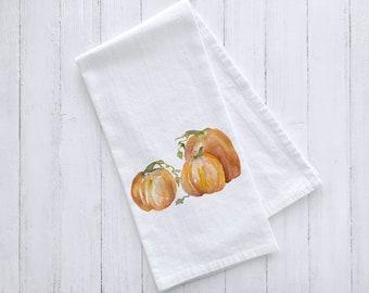 Three Pumpkins Watercolor Flour Sack Tea Towel