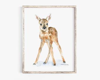 Deer Fawn Watercolor Painting Giclee Print Nursery Art Wall Decor