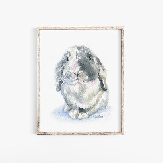 Hangoor Konijn Aquarel 4 X 6 Giclee Fine Art Print Bunny Etsy