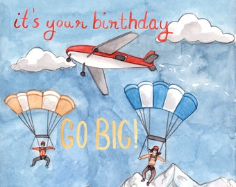 Skydiver Birthday Card