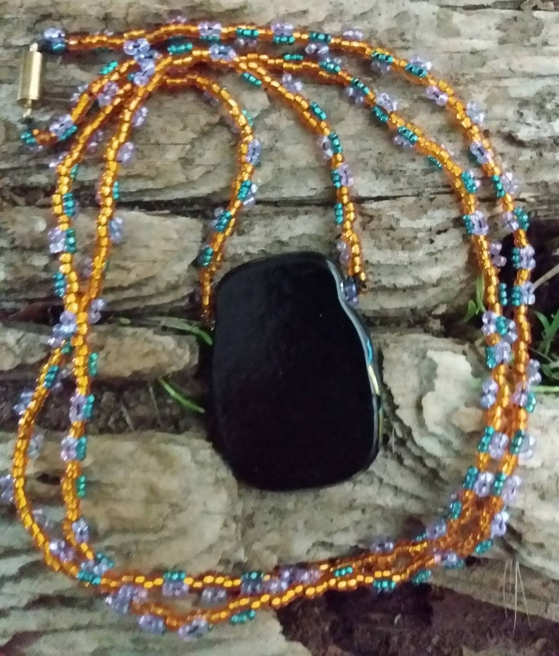Golden Fused Pendant on Beaded Gold Lilac  /& Teal Necklace
