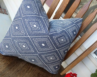 Blue and White Geometric Pillow Cover | Blue Tribal Pillow Cover | Blue and White Pillow | Indigo Pillow Cover | Blue Geometric Pillow