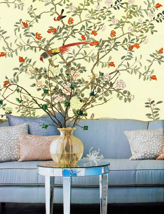 Yellow Orange Chinoiserie Wallpaper Removable Wall Decal