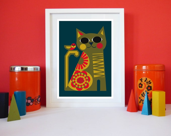 Birdie cat by Jay Kaye A4 or A3 sized print cat kitty modernist Style