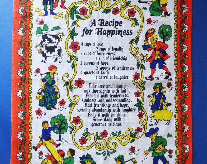 Vintage folk art tea towel Happiness Recipe.