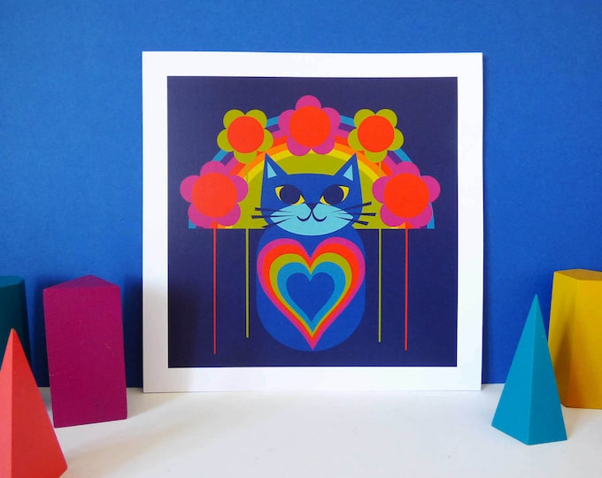 Love cat by Jay Kaye 21cm Sq print Cat illustration