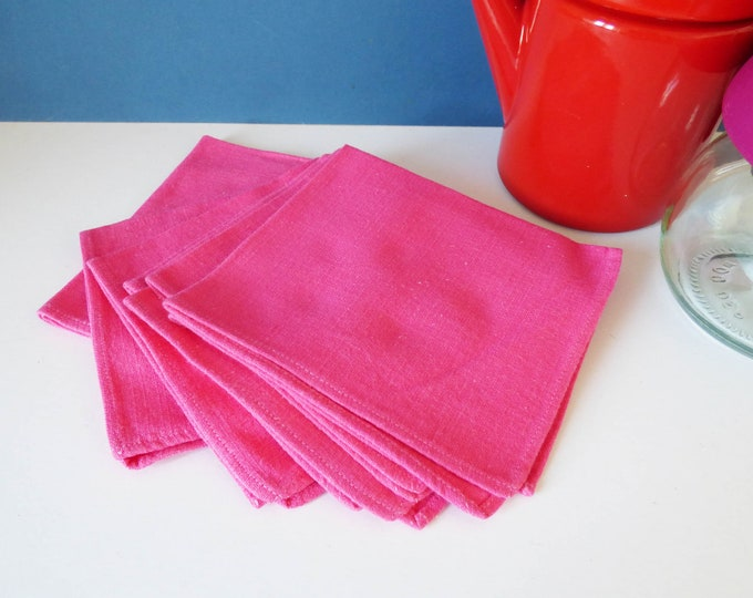 Napkins 6 Vintage bright pink linen