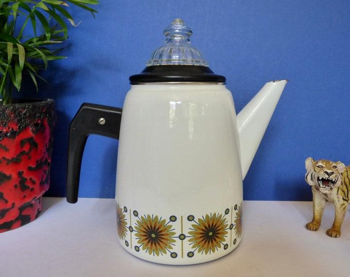 Enamel coffee pot with percolator vintage