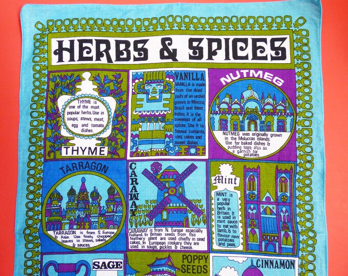 Tea towel Herbs and Spices Vintage Irish Linen