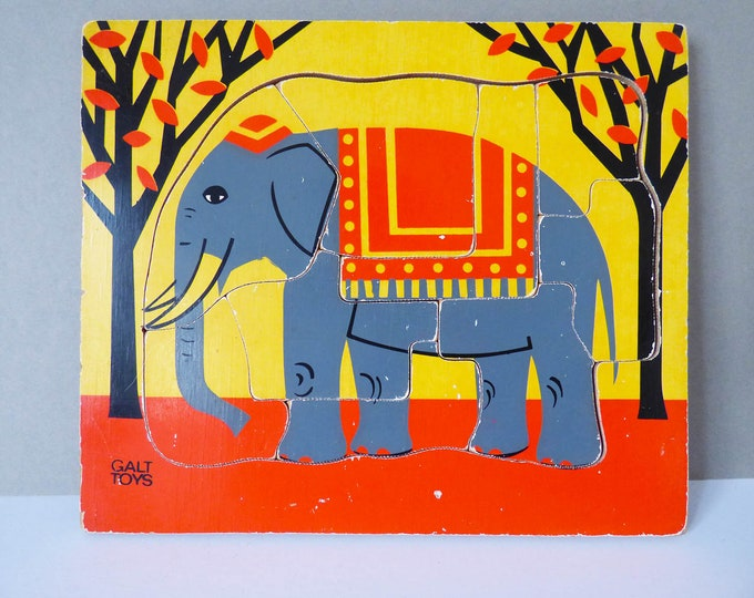 Vintage wooden Galt elephant puzzle